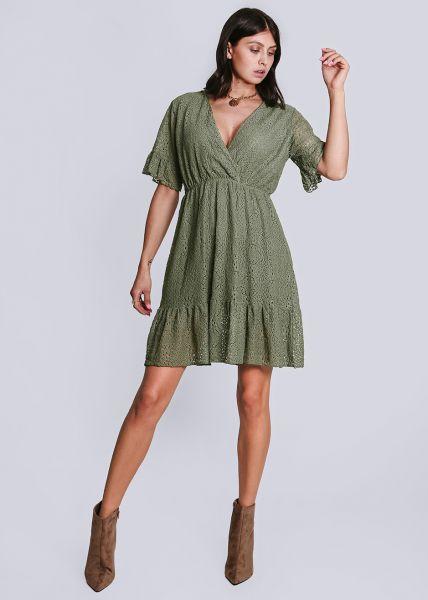 Jersey-Kleid aus Spitze, khaki