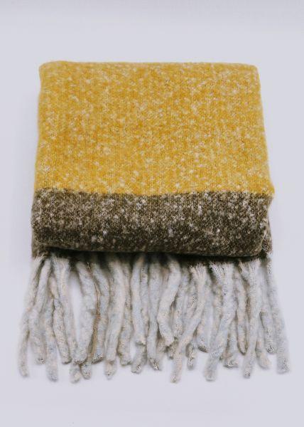 Streifen-Schal, gelb/weiß/grau