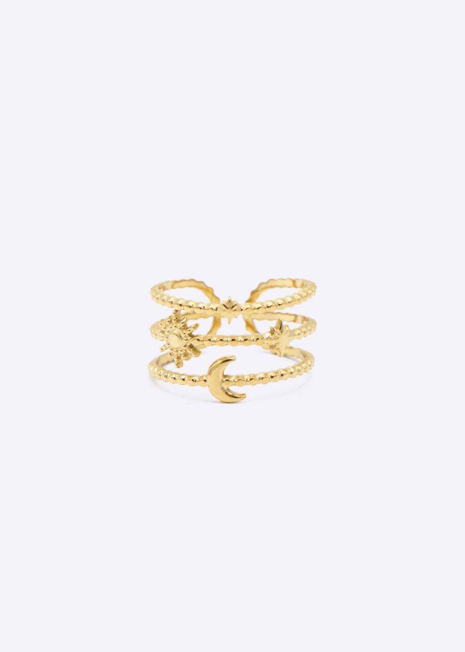 Filigraner Ring mit Mond und Sterne, gold