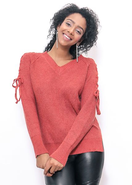 Lace-Up Pullover, rostrot