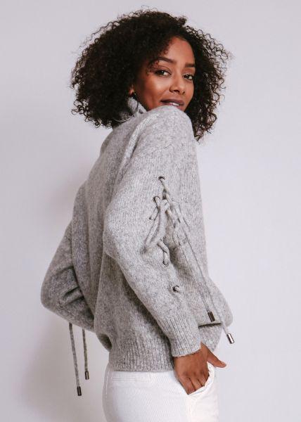 Pullover mit Schnürung am Arm, grau