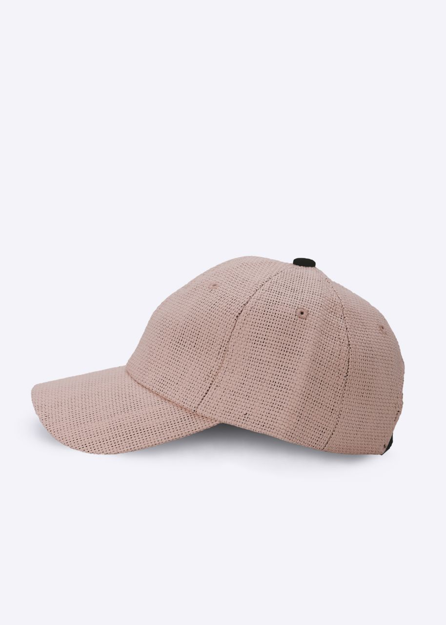 Baseballkappe in Stroh-Optik, rosa