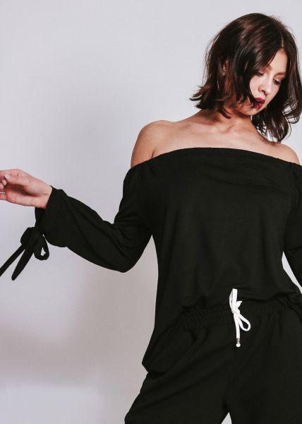 Schulterfreie Bluse aus Jersey, schwarz