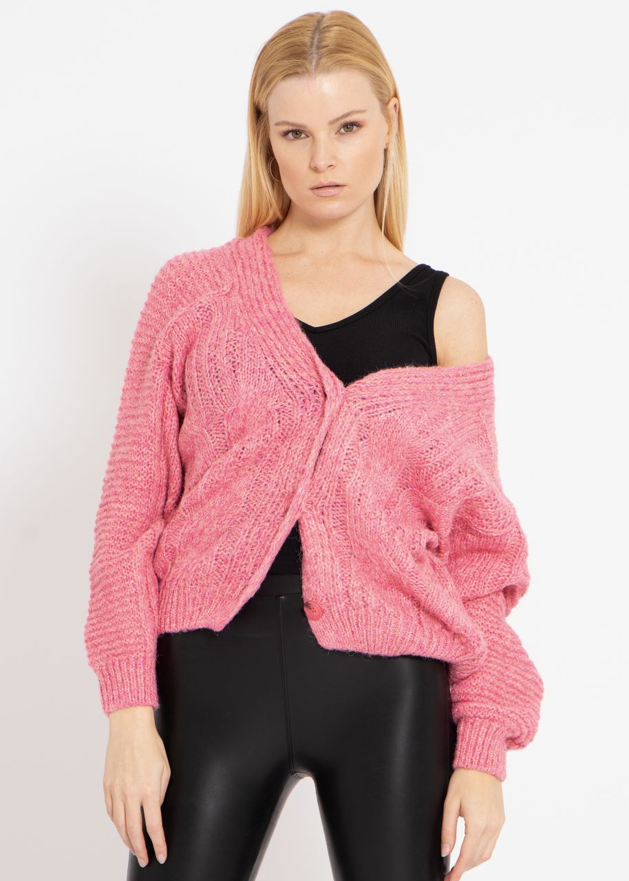 Oversize Strickjacke mit Zopfmuster, rosa