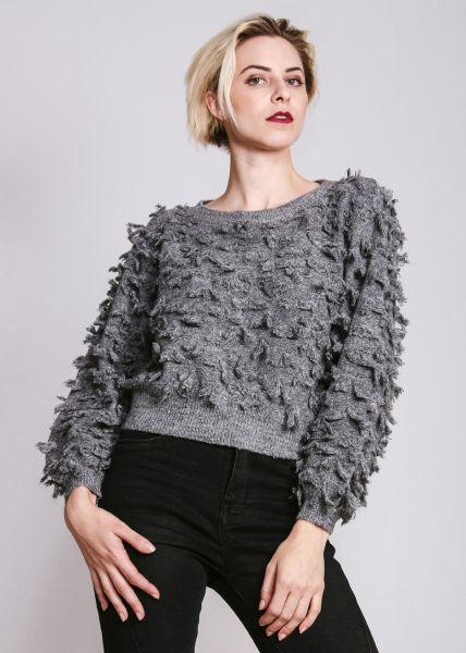Crop-Pullover mit Zotteln, grau