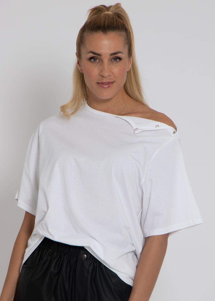 Oversize T-Shirt mit Druckknöpfen, weiß