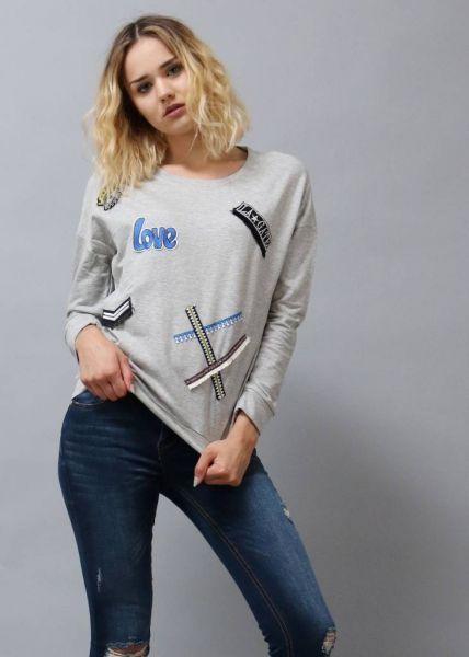 Sweatshirt mit Patches, grau