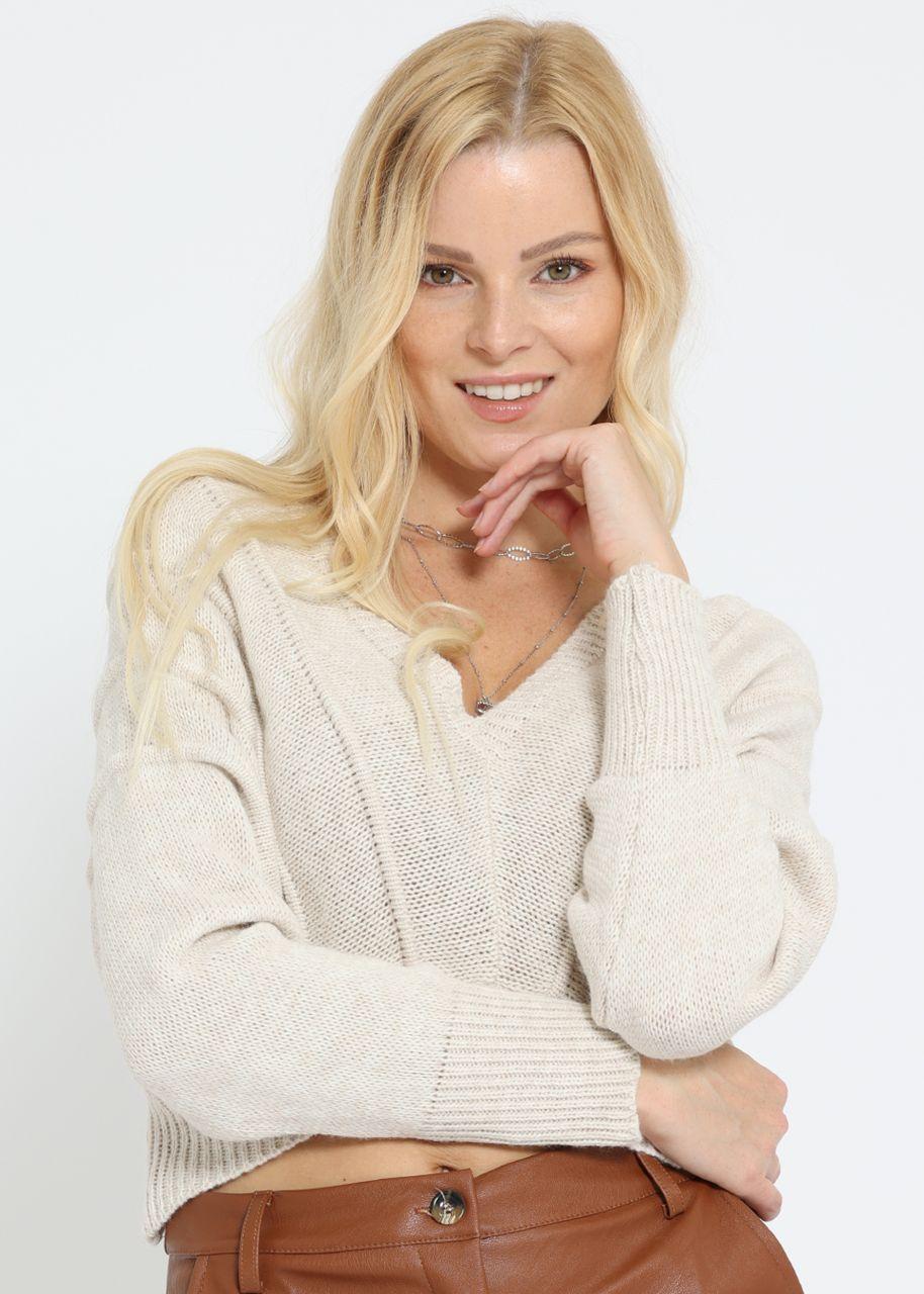 Crop-Pullover mit weitem Ausschnitt, beige