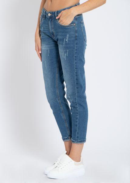 Mom-Jeans, destroyed, blau