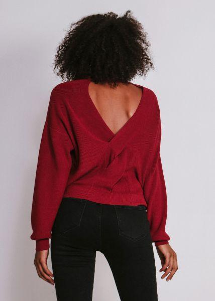 Pullover mit Rückenausschnitt, weinrot