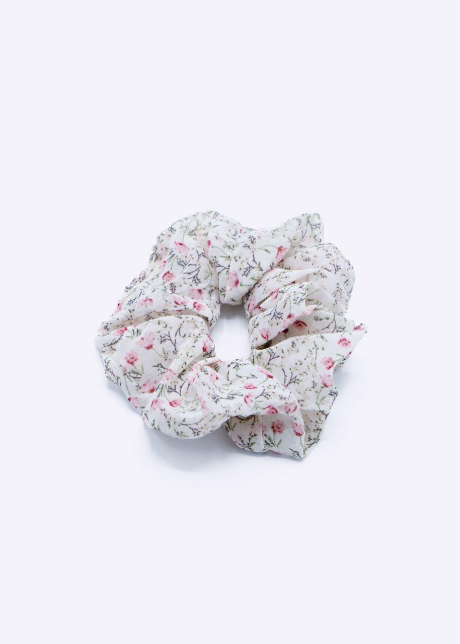 Scrunchie mit rosa Blümchen-Print, offwhite