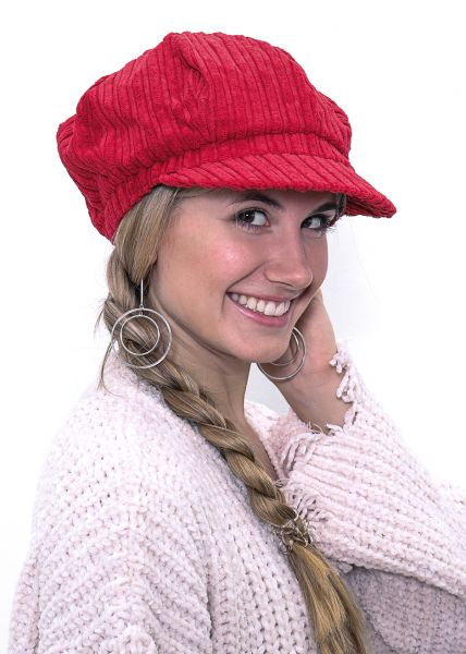 Bakerboy Mütze aus Kord, rot
