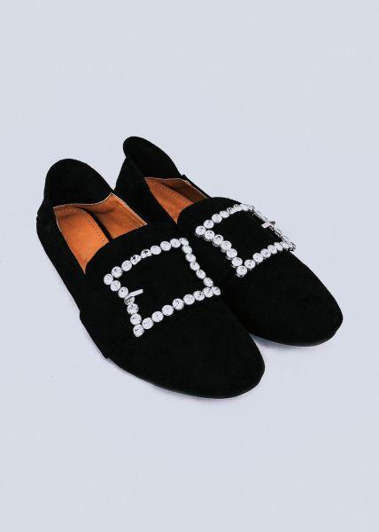 Loafer mit Glitzerschnalle, schwarz