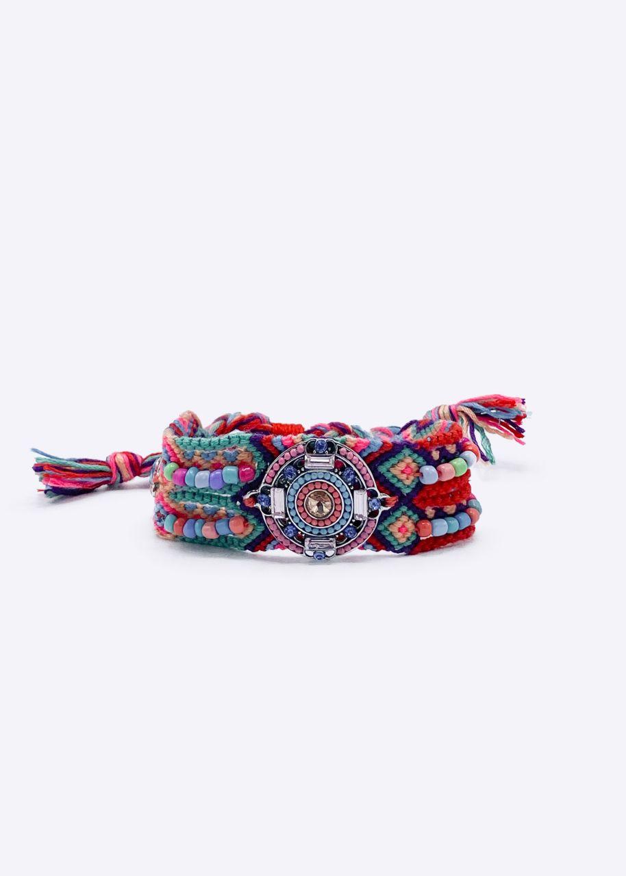 Boho Armband, türkis/rot