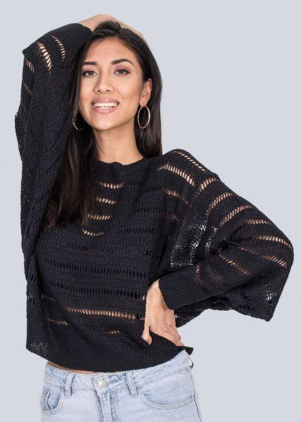 Pullover mit Lochmuster, schwarz