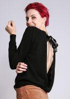 Pullover, hinten gewickelt, schwarz
