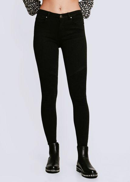 Skinny Jeans mit Absteppung, schwarz