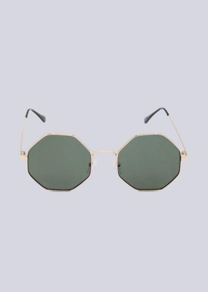 Sonnenbrille, 8-eckiger Rahmen, gold