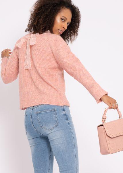 Pullover mit Organzaschleife, rosa