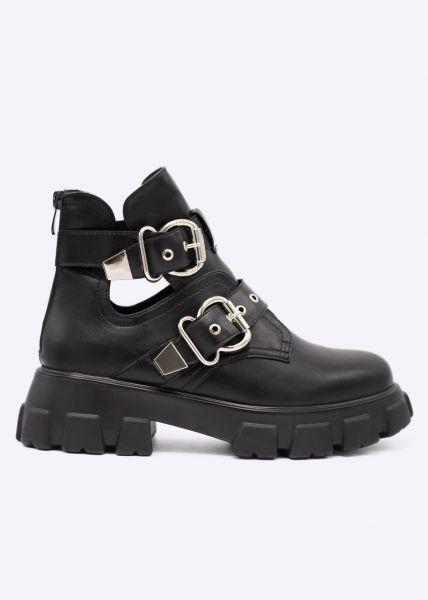 Plateau-Boots mit silbernen Schnallen, schwarz