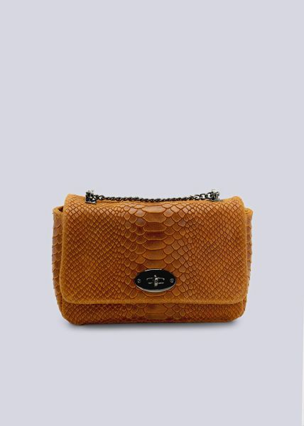 Leder-Tasche mit Krokoprägung, cognac