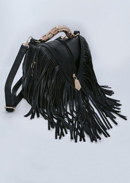 Fransen-Tasche, schwarz