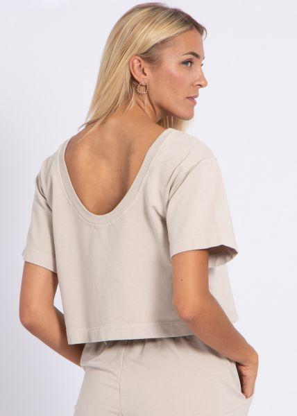 Kastiges T-Shirt mit Rückenausschnitt, beige