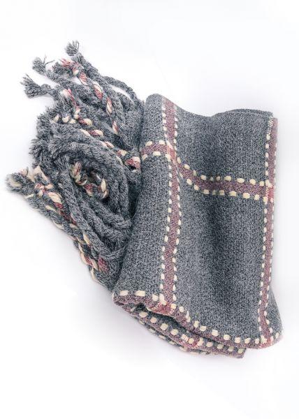 Großkarierter Schal, hellgrau