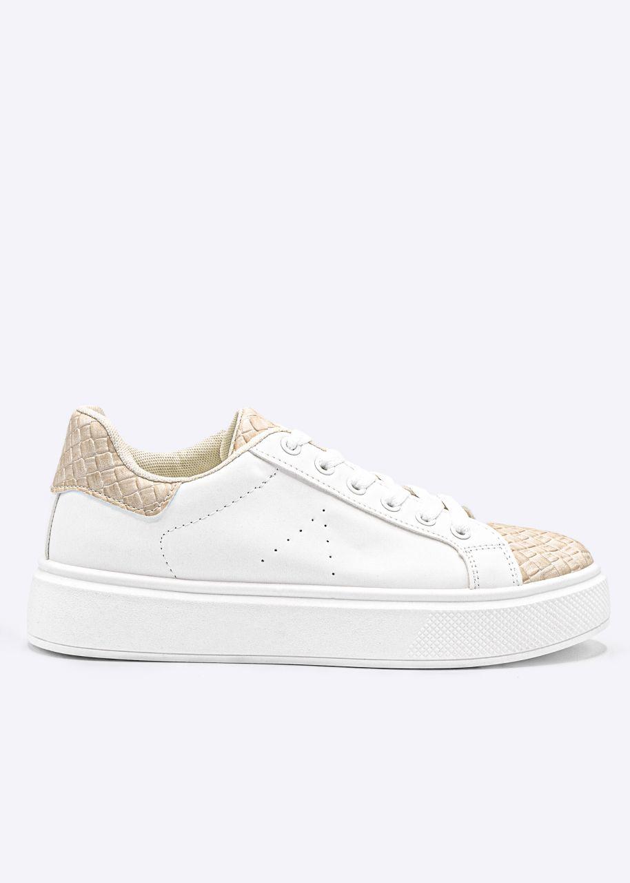 Sneaker mit beige Web-Details, weiß
