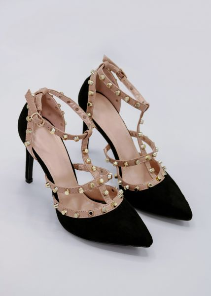 High-Heels mit goldenen Nieten, schwarz