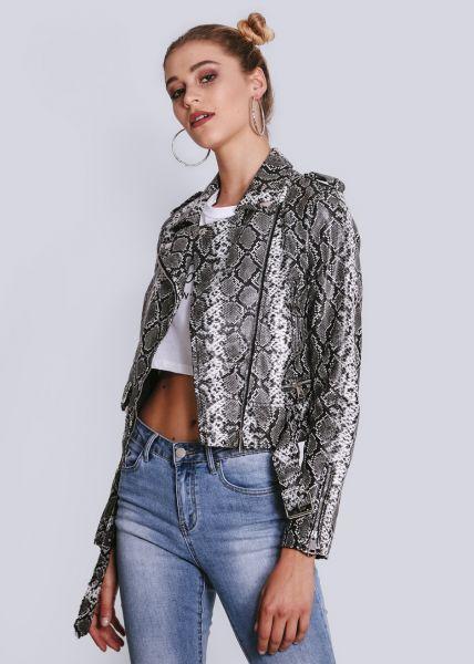 Biker-Jacke in Snake-Print, grau
