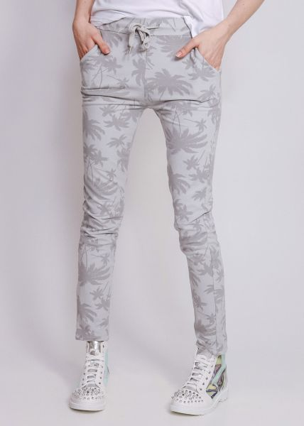 Loungepants mit Palmenprint, grau