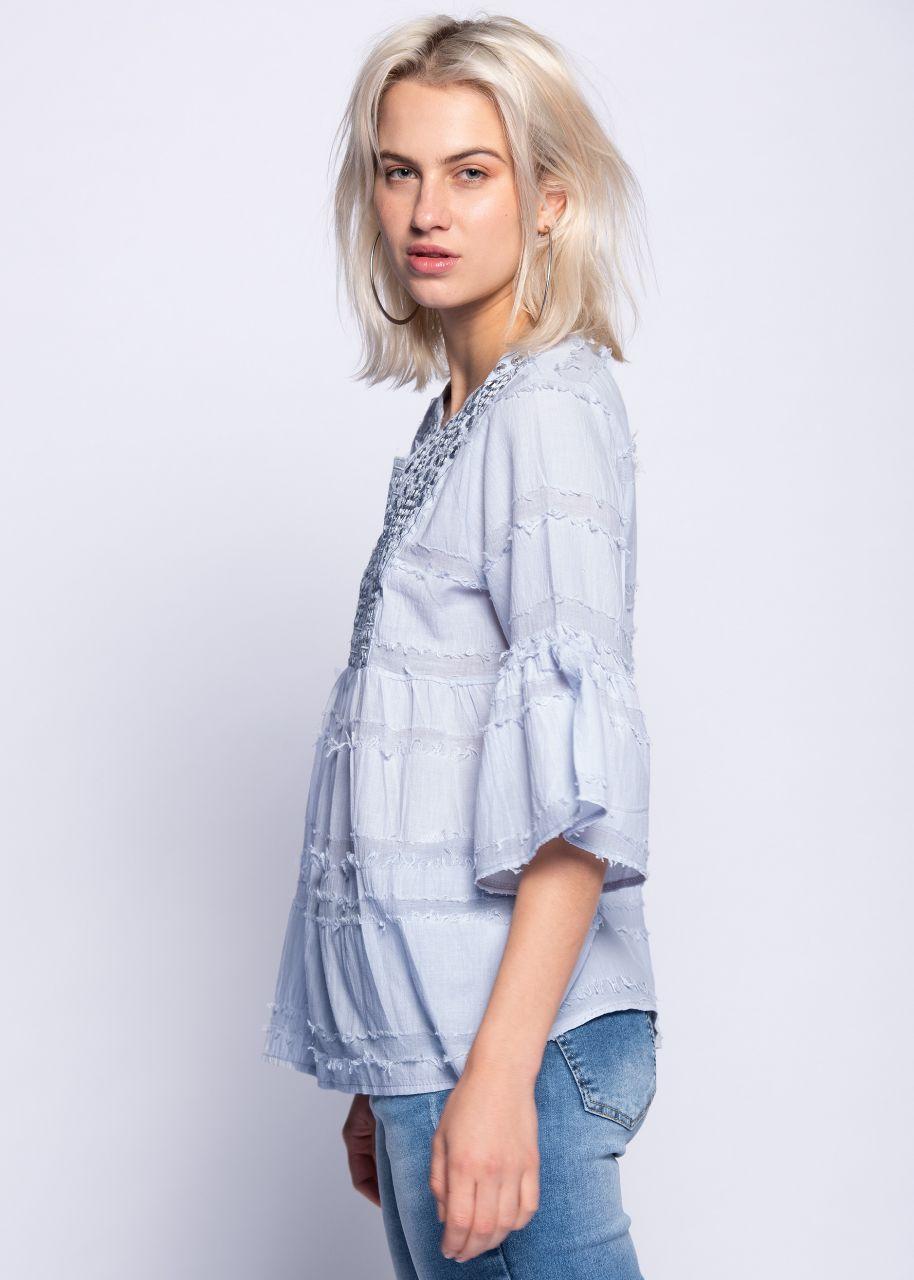 Tunika-Bluse mit bestickter Passe, hellblau
