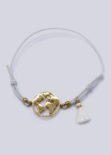 Armband mit goldenem Welt-Anhänger, weiß
