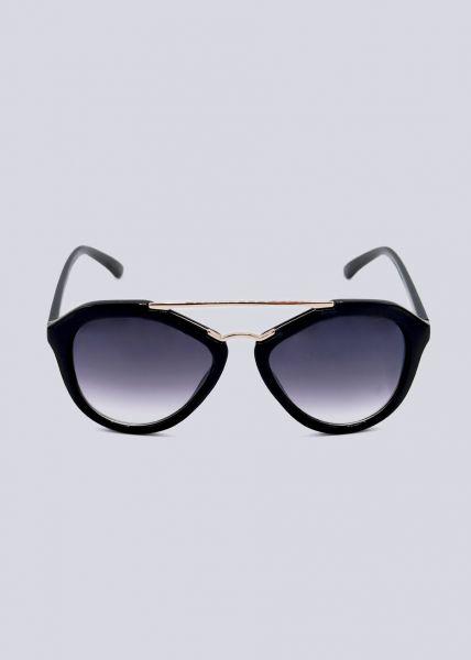 Sonnenbrille mit goldenem Steg, schwarz