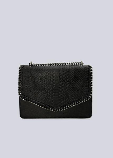Überschlagtasche in Snake-Optik, schwarz