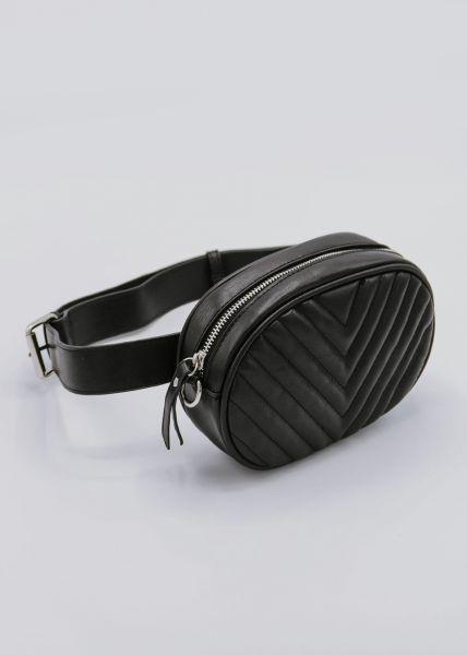 Gürteltasche / Tasche mit silbernem Reißverschluss, schwarz