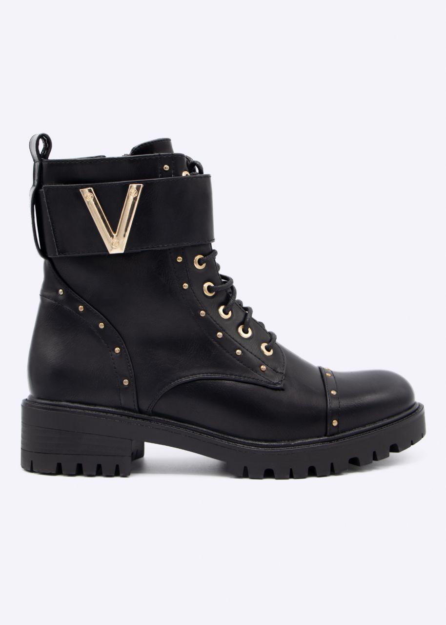Schnür-Boots mit gold Details, schwarz