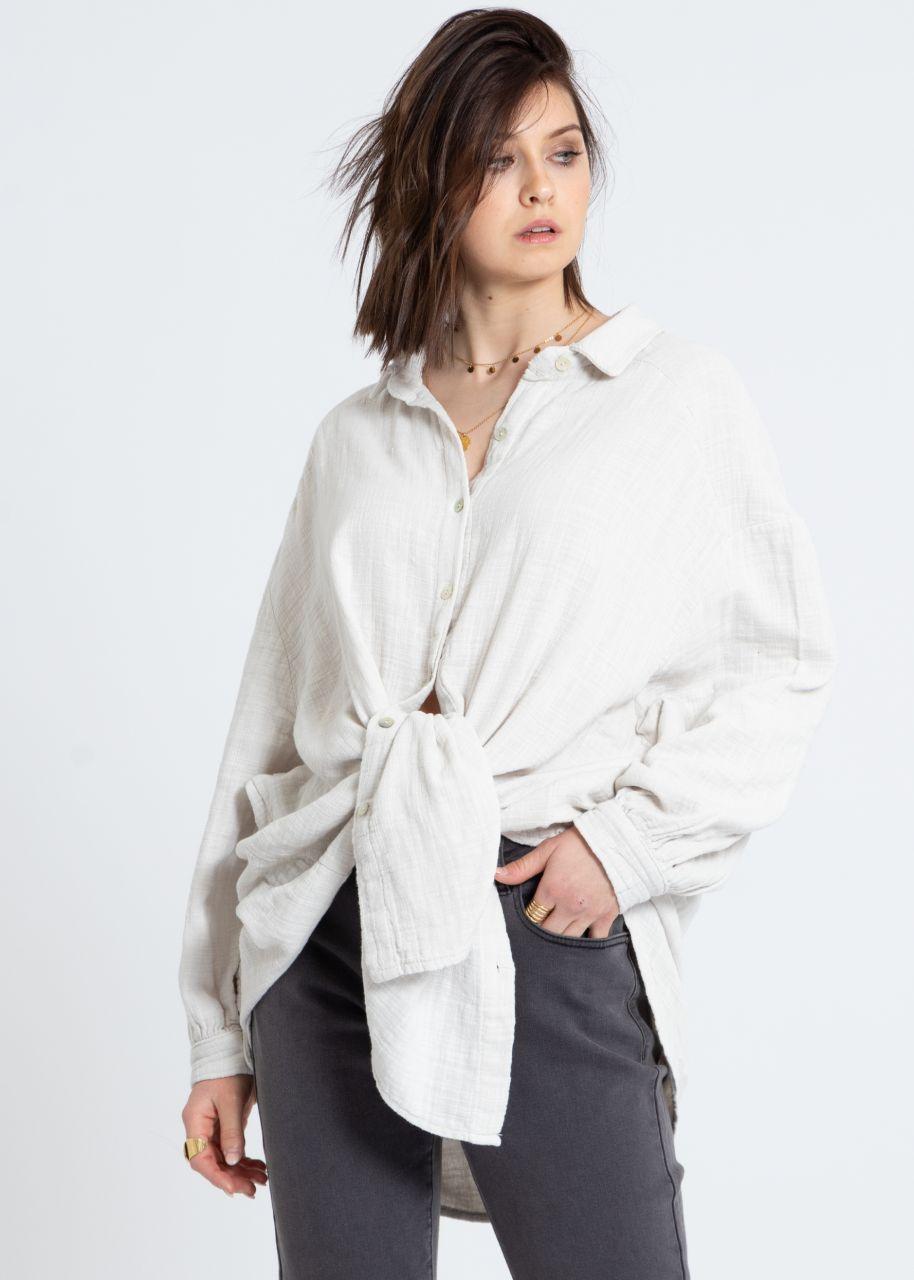 Ultra oversize Blusenhemd in Leinen-Optik, hellbeige
