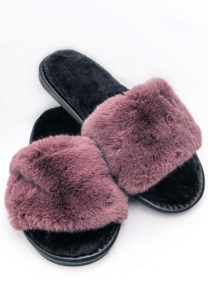 Fake Fur Slippers, mauve