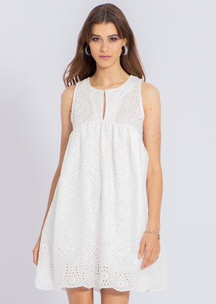 Tunikakleid aus Spitze, weiß