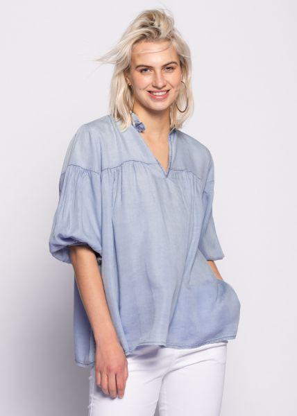 Tunika-Bluse mit Rüschenkragen, jeansblau