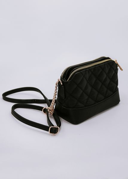 Gesteppte Mini-Bag, schwarz