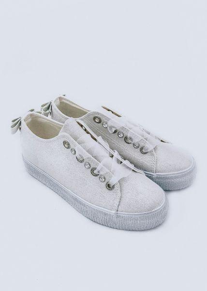 Glitzer Sneaker, weiß/silber