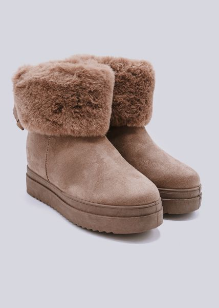 Winter-Boots mit Plateau, camel