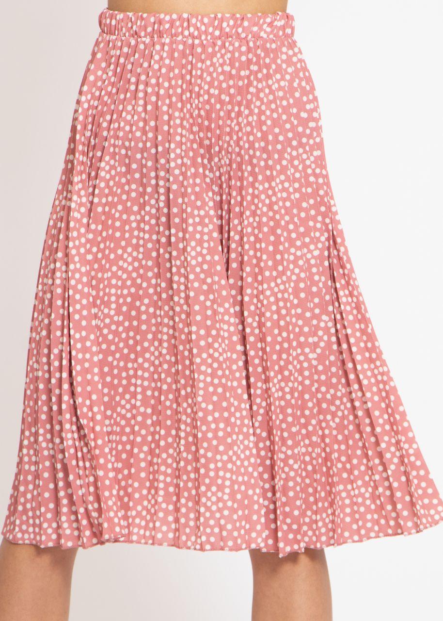 Plissée-Rock mit Tupfen-Print, rosa