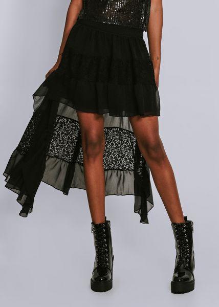 Volantsrock mit Spitze, schwarz