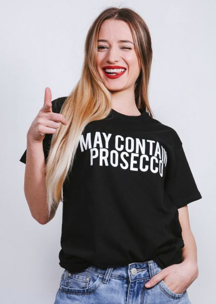 "T-Shirt ""MAY CONTAIN PROSECCO"", schwarz"