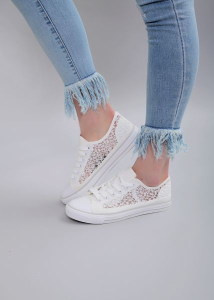 Low Top Sneaker mit Spitze, weiß