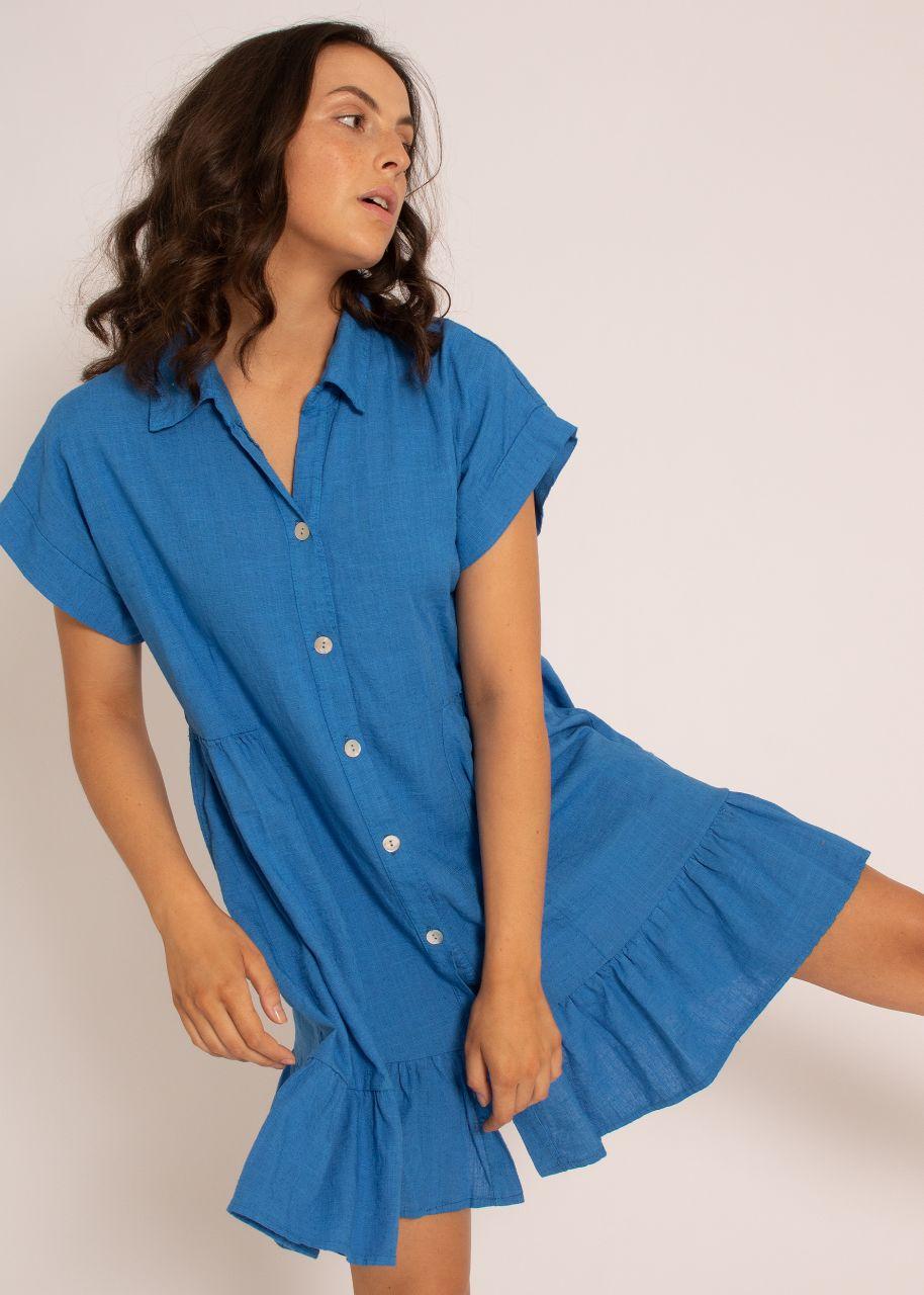 Leinen-Hängerchenkleid, royalblau